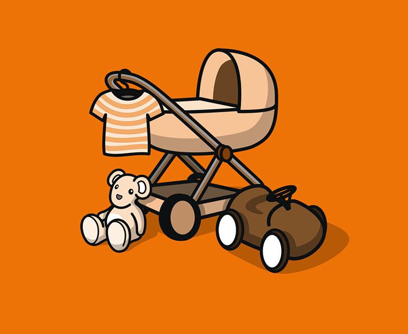 Kleinkindermöbel und Buggy